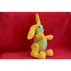 Играчка заек в жълто и зелено