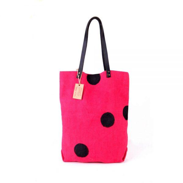 Малинова ленена чанта на точки