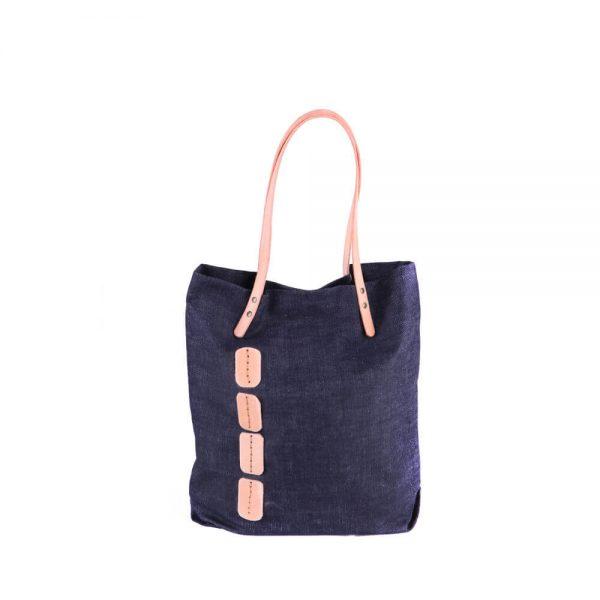 Дънкова чанта с кожени елементи