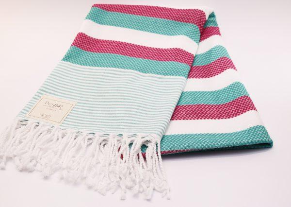 Памучна кърпа в зелено и розово