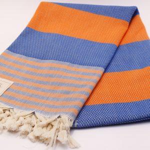Памучна кърпа в оранжево и синьо